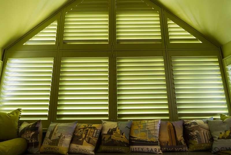 Green wooden shutters