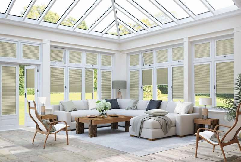 Green conservatory blinds